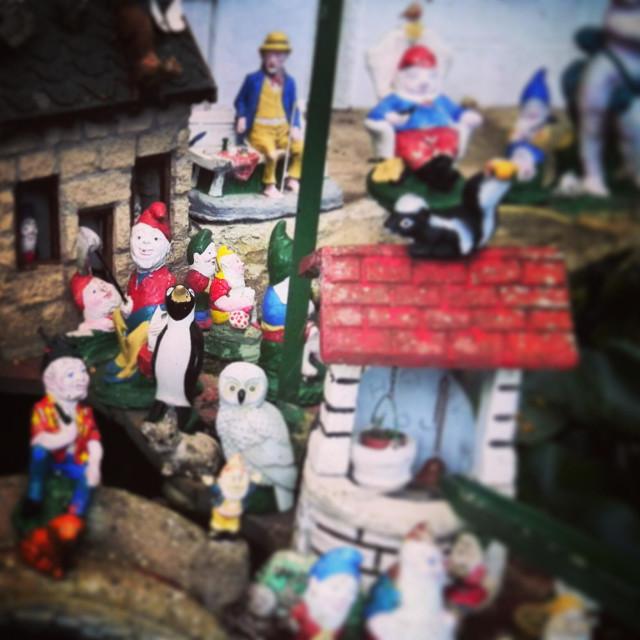 """Kitsch garden gnome crowd"" stock image"