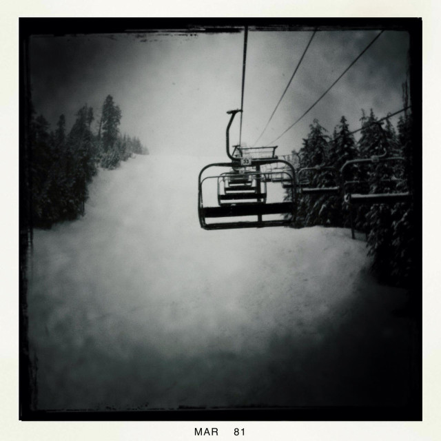 """An empty chair lift on Cypress Mountain. Vancouver, Canada, British Columbia."" stock image"