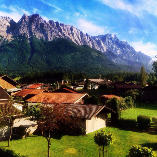 """View to Zugspitze and Wetterstein Range"" stock image"