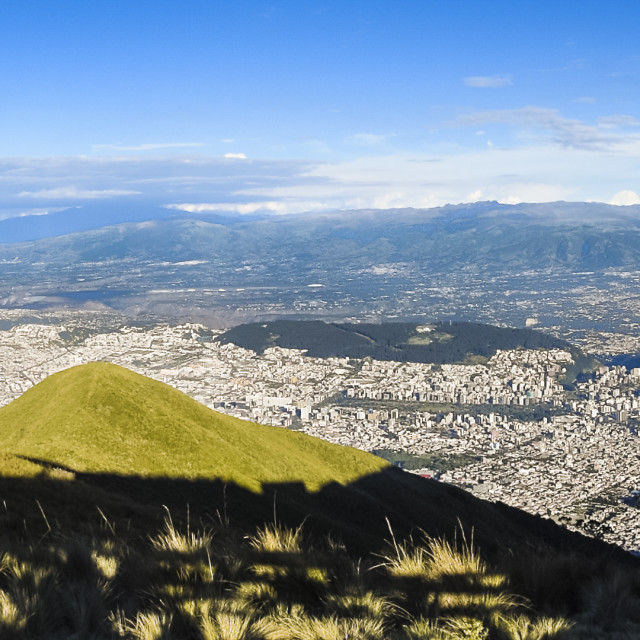 """Large panoramic view of Quito city, Ecuador"" stock image"