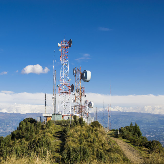 """Cellular, tv and radio antennas at the top of mountain"" stock image"
