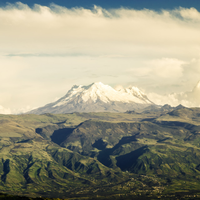 """Panoramic Cotopaxi volcano in the Andes"" stock image"