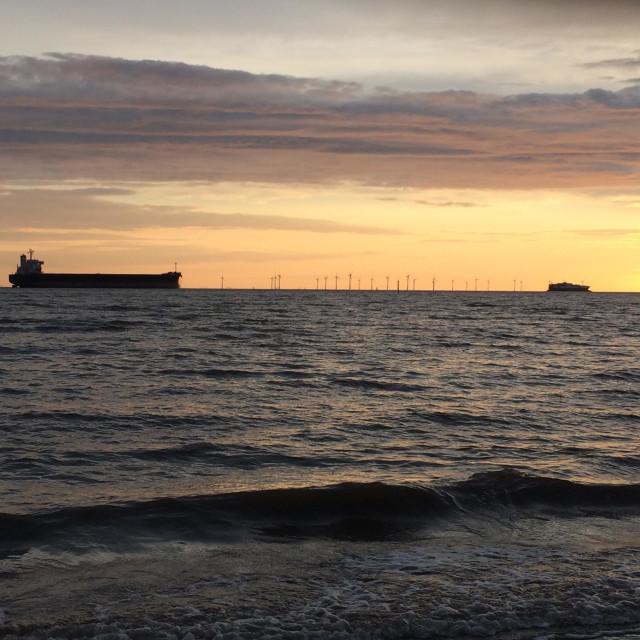 """Crosby beach sunset"" stock image"