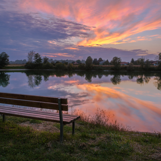 """""""Empty bench at sunset"""" stock image"""