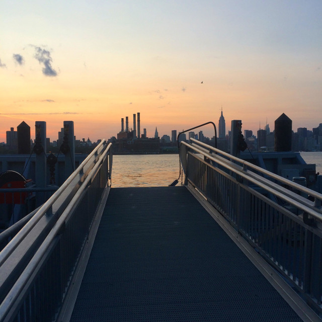 """""""Sunset over Manhattan from Brooklyn"""" stock image"""