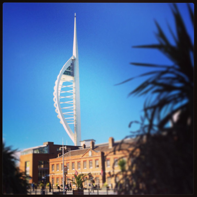 """Spinnaker Tower against a blue sky"" stock image"