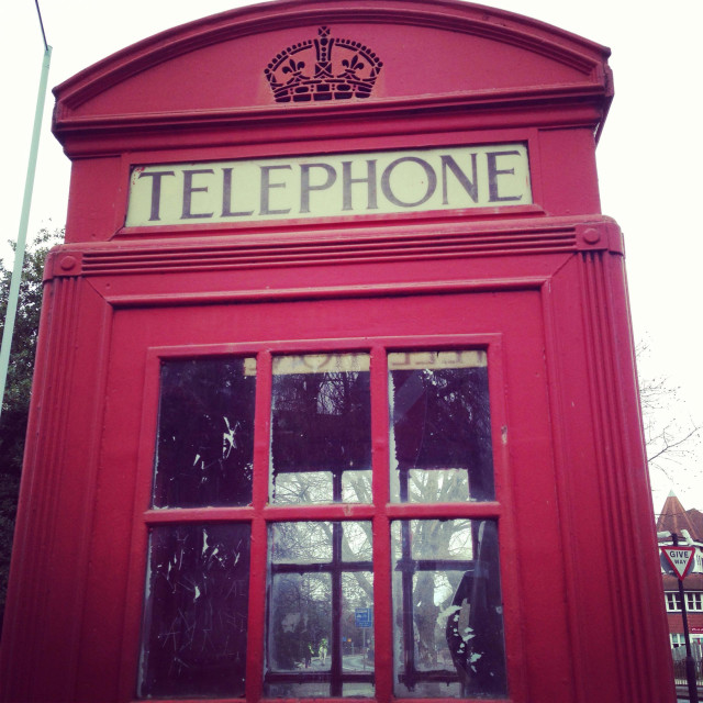 """Red telephone box"" stock image"