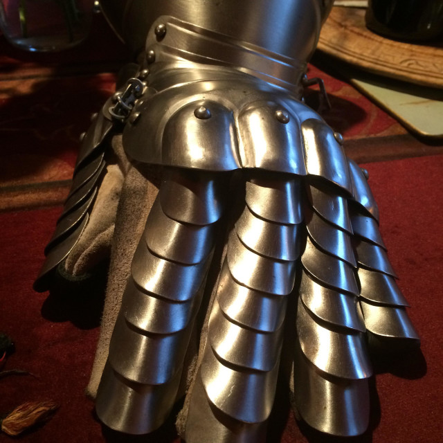 """Knight's Armour, hand section."" stock image"