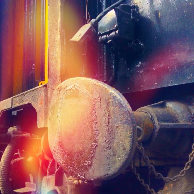 """Vintage railway cartridge with light leakage overlay"" stock image"