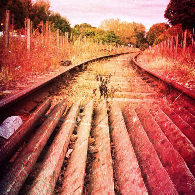 """Vintage looking view of railway track"" stock image"