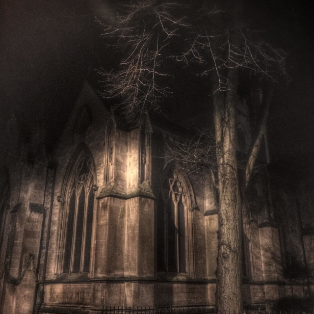 """Church corner in Oxford city centre at night."" stock image"
