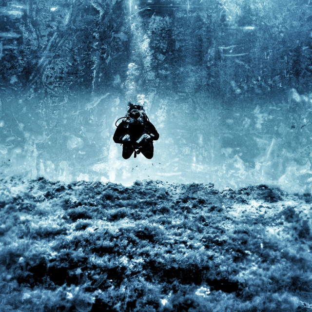 """""""Young female scuba diver swimming over rock reef"""" stock image"""