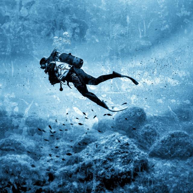 """Young female scuba diver swimming over limestone rock reef"" stock image"