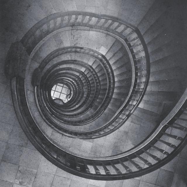 """Art Deco spiral staircase inside of Meßberg Hof, Kontorhausviertel, Hamburg, Germany"" stock image"