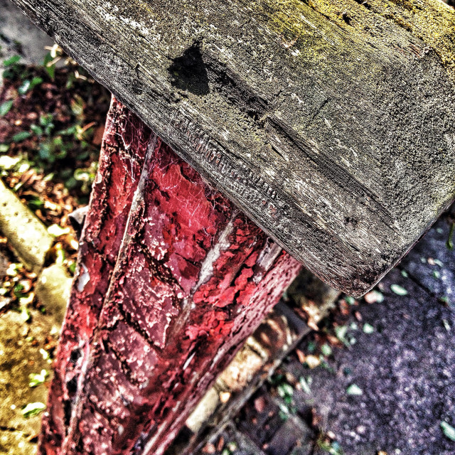 """""""Old wooden post at front of house with peeling paint"""" stock image"""