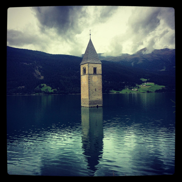 """The famous tower in the Resia/Reschen lake, Sudtirol, Italy"" stock image"