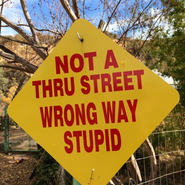 """""""Wrong way sign stating """"wrong way stupid."""""""" stock image"""