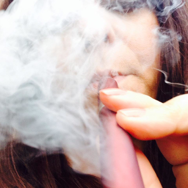 """Me smoking an electronic cigarette"" stock image"