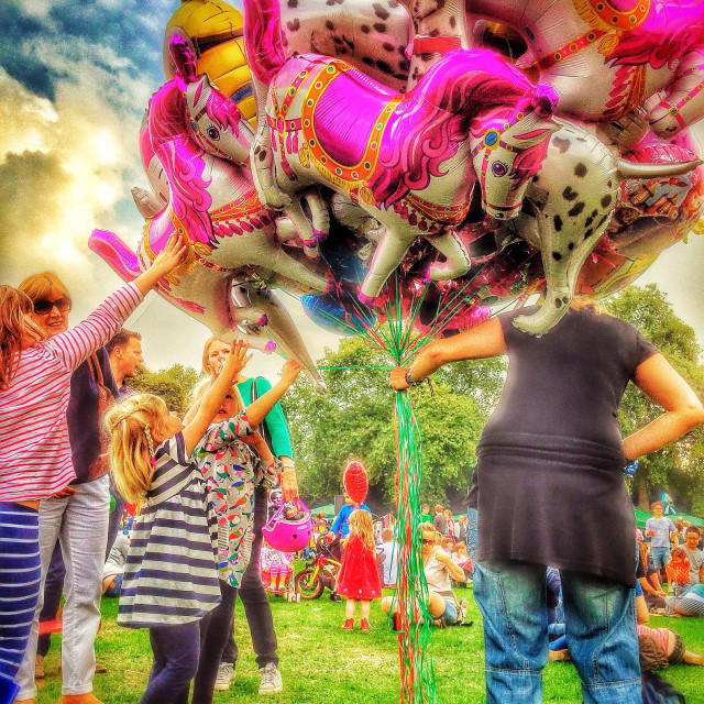 """Colourful balloons at the fete"" stock image"