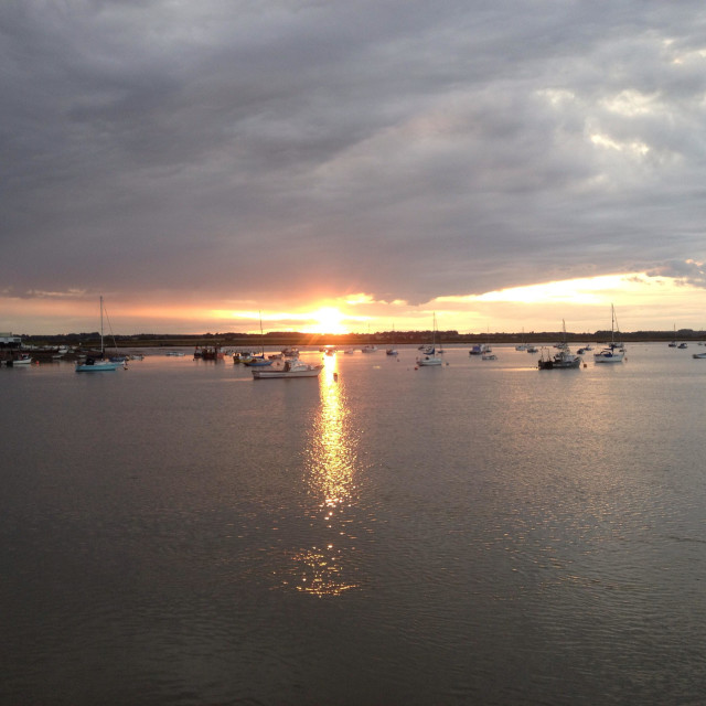 """""""Sunset over the river Deben, Felixstowe Ferry, Suffolk."""" stock image"""