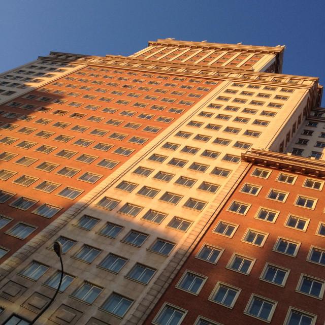 """Edifico de Espana landmark building at Plaza de Espana in Madrid Spain"" stock image"