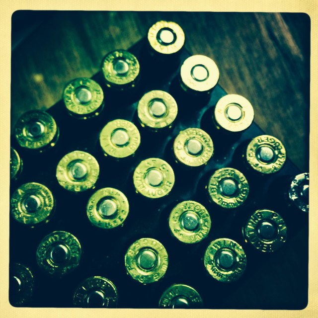 """""""Close up image of 9mm bullets"""" stock image"""