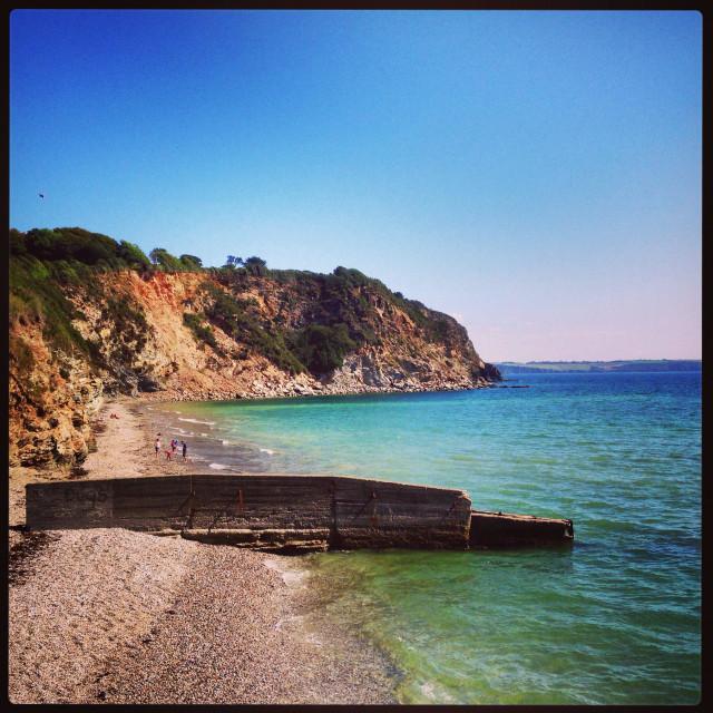 """""""Charlestown beach in Cornwall"""" stock image"""