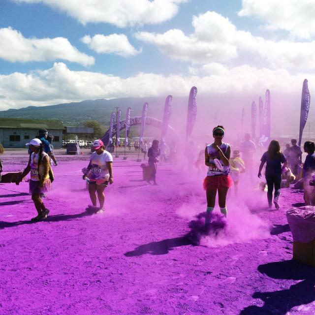 """Color run in Kailua Kona - purple"" stock image"