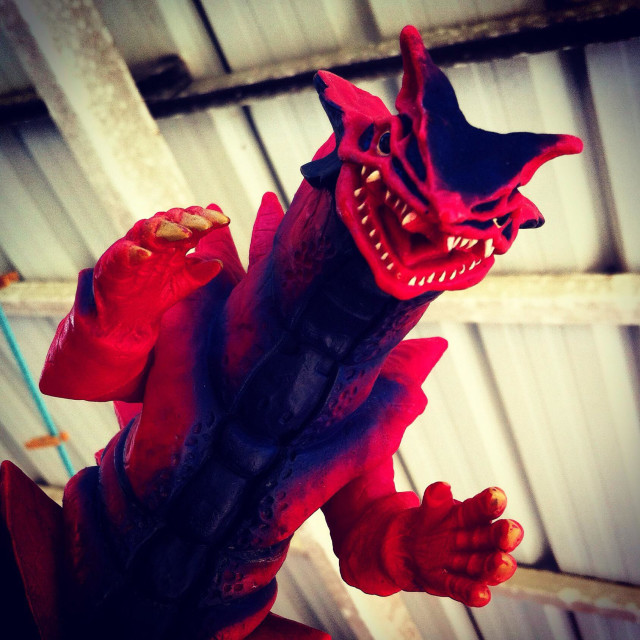 """""""Red monster attack... Beware!"""" stock image"""
