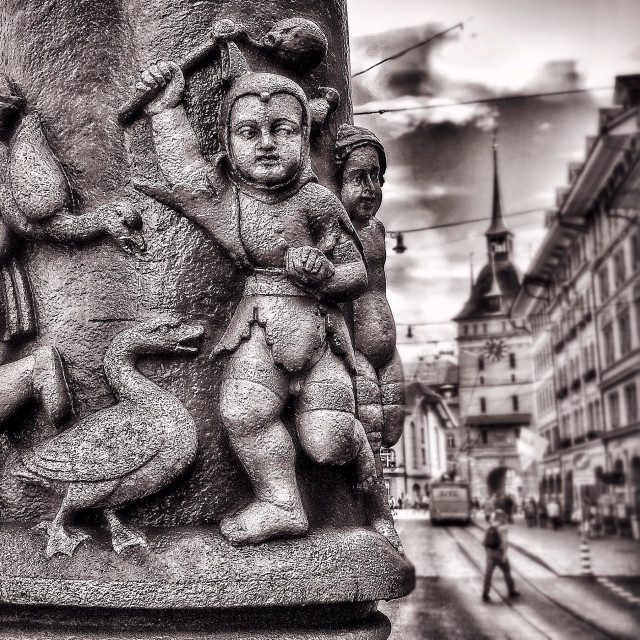 """Detail from fountain, Spitalgasse, Bern"" stock image"