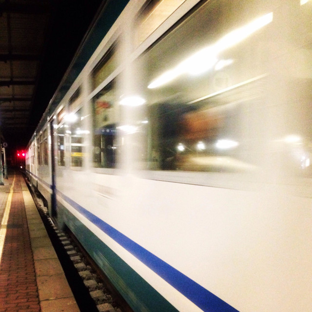 """Train speeding up in italy"" stock image"
