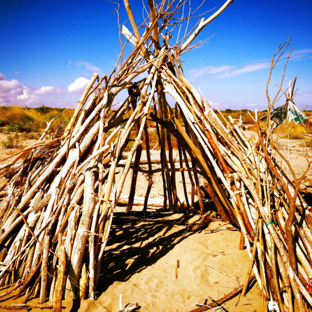 """""""Indian tent on the beach"""" stock image"""