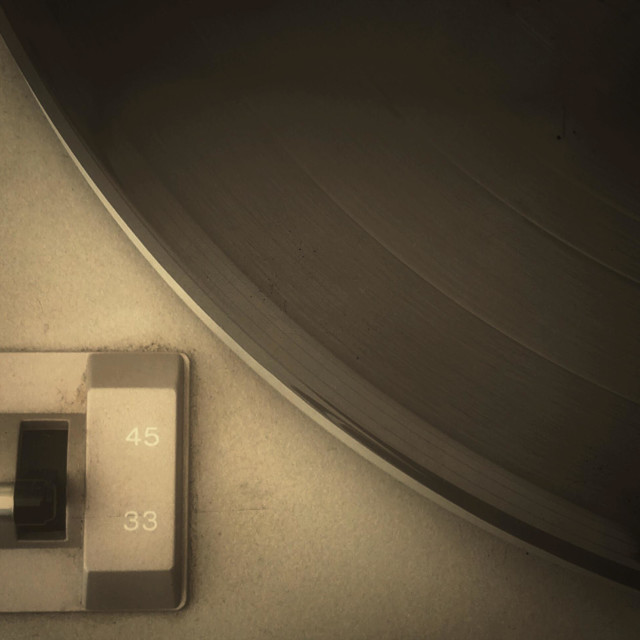"""""""LP record and speed sector switch of a turntable"""" stock image"""