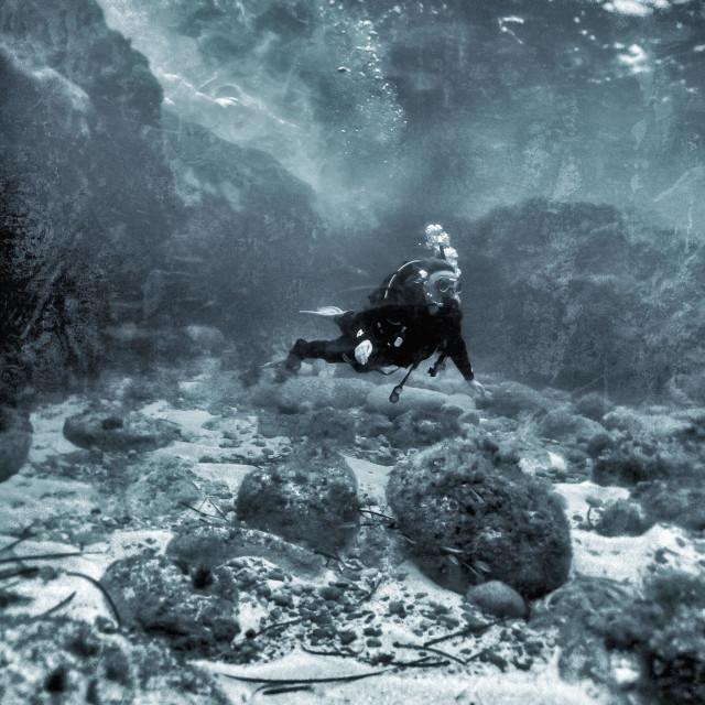 """Mature female scuba diver"" stock image"