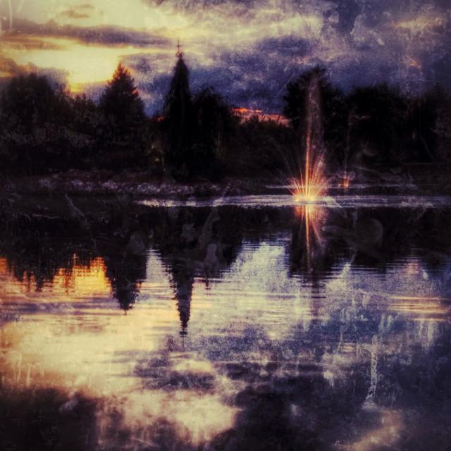 """""""Lights on the lake."""" stock image"""