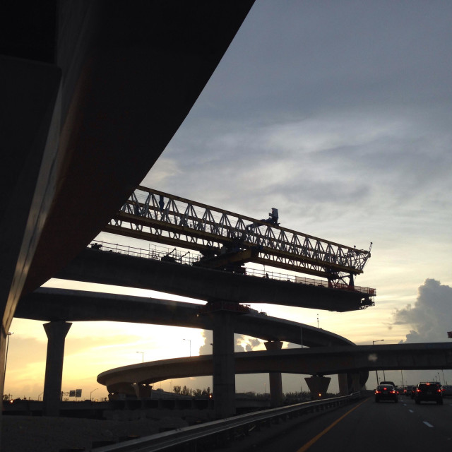 """Dolphin & Palmetto Expressway interchange construction, Miami, Florida, USA"" stock image"