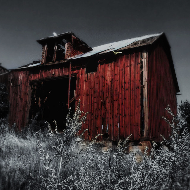 """""""Blood Red Barn."""" stock image"""