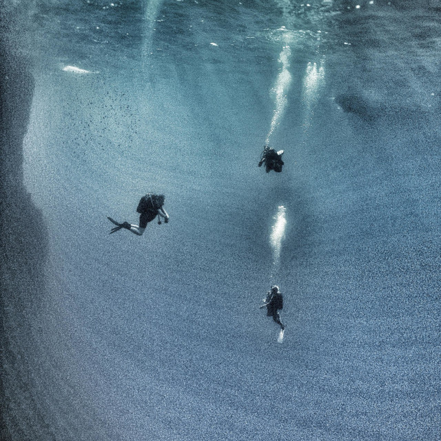 """""""Three mature male scuba divers ascending in mid water."""" stock image"""
