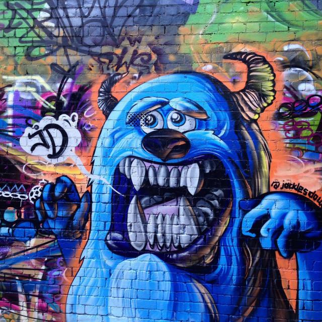 """""""Street Art scary monster graffiti lane"""" stock image"""