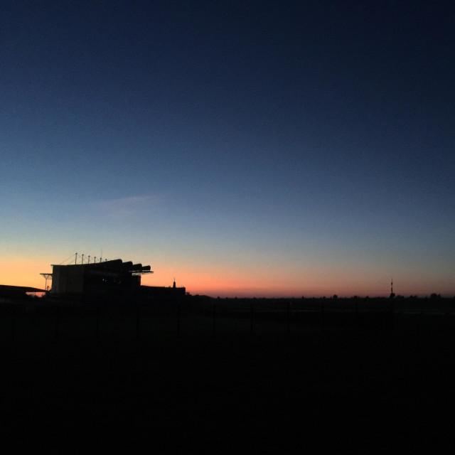 """Sunrise at Newmarket racecourse!!"" stock image"
