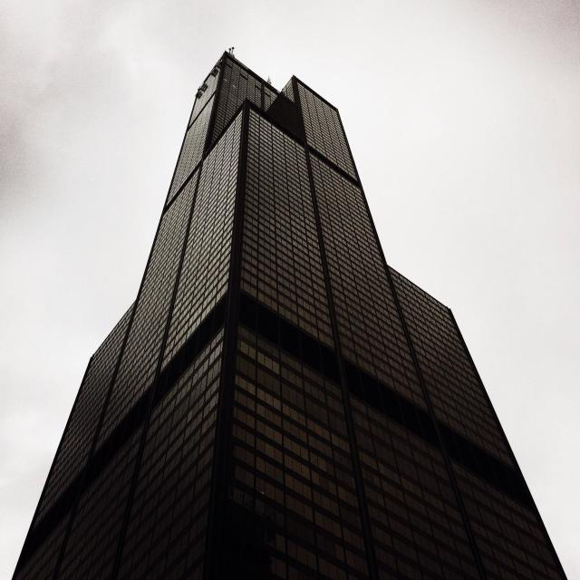 """Looking up at the Wills Tower (formally the Sears Tower). Chicago, Illinois USA."" stock image"