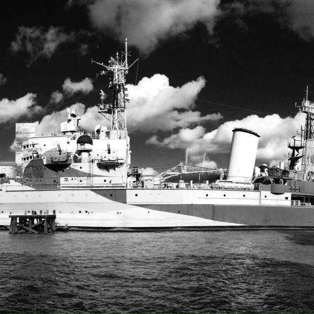 """Dramatic panorama of the HMS Belfast"" stock image"