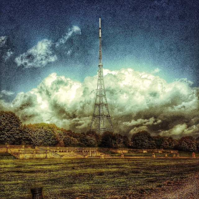 """""""Crystal palace arial on a cloudy day"""" stock image"""
