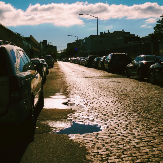 """""""Old paved street in industrial area in Long Island City, Queens, NY"""" stock image"""