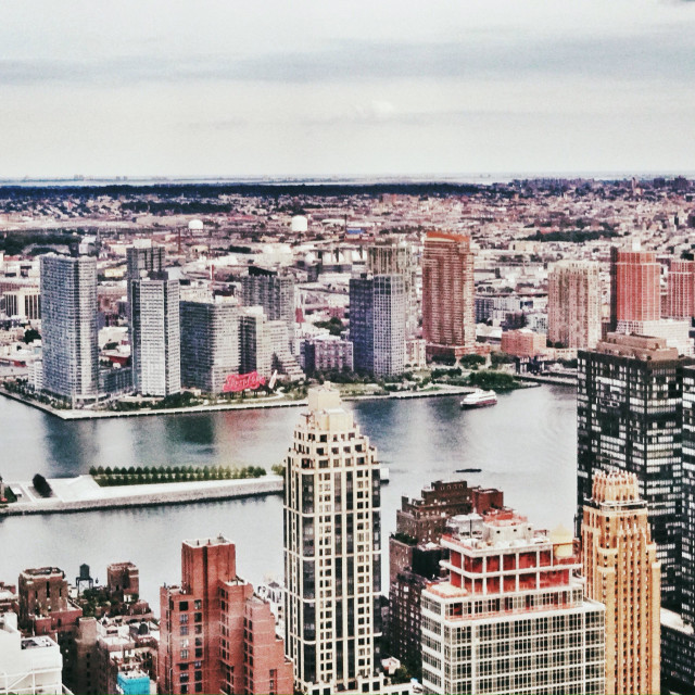 """""""East river, Roosevelt island and Long Island City new developments buildings in Queens, view from a skyscraper in midtown Manhattan"""" stock image"""
