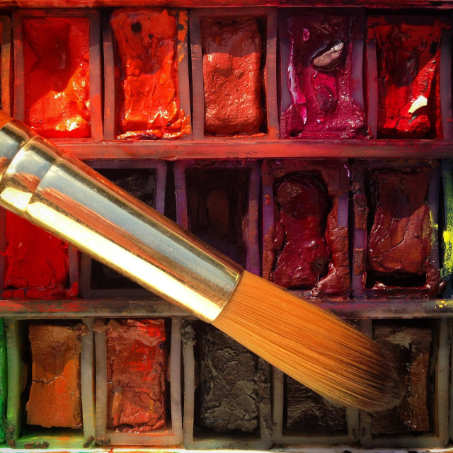"""Watercolour paints and paintbrush close-up"" stock image"