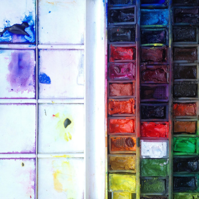 """Well used artists watercolour paint palette"" stock image"