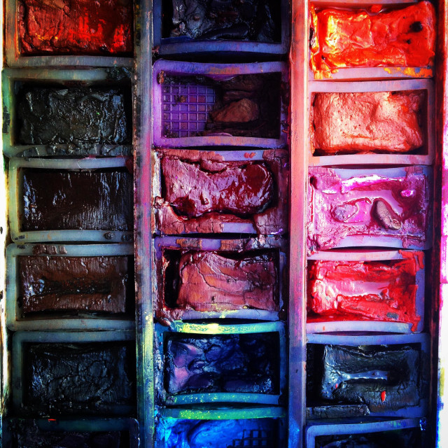 """Well used artists watercolour paint palette close-up"" stock image"