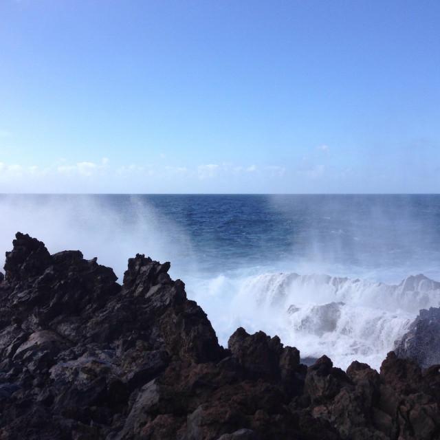 """Waves hitting volcanic rocks on seaside in Garachico, Tenerife"" stock image"