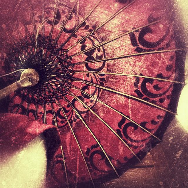 """Woman holding umbrella"" stock image"